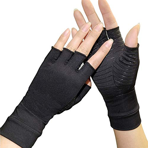 Pressure Gloves Copper Arthritis Gloves Copper Compression Arthritis Gloves Copper Infused Fit Glove for Carpal Tunnel Computer Typing and Everyday Support for Hands and Joints (1 Pair) (S)