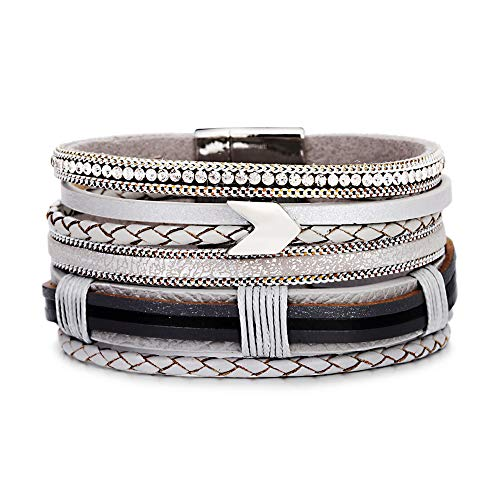 VONRU Leather Wrap Bracelet for Women - Charm Boho Multilayer Gorgeous Bracelets Wristbands - Casual Braided Handmade Magnetic Bracelet Cuff Bangle Gift for Monther (Silver Arrow Leather -
