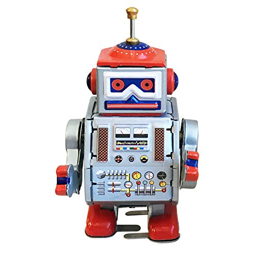 Retro Wind UpTin Toys MS406 Walking Drummer Robot