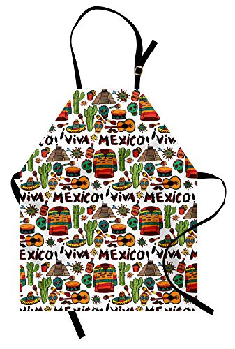 (Ambesonne Mexican Apron, Viva Mexico with Native Elements Poncho Tequila with Salsa and Hot Peppers Image, Unisex Kitchen Bib with Adjustable Neck for Cooking Gardening, Adult Size, Orange Brown)