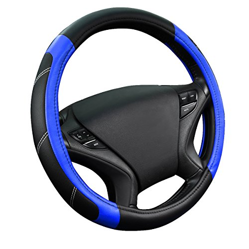 (CAR PASS Line Rider Leather Universal Steering Wheel Cover fits for Truck,SUV,Cars (Black and Blue))