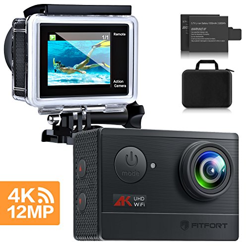 Action Camera, MOSPRO 4K WiFi Waterproof Sports Cam 170 Degree Wide Angle 12 MP DV Camcorder with 2 Rechargeable Batteries and 19 Mounting Accessories Kit