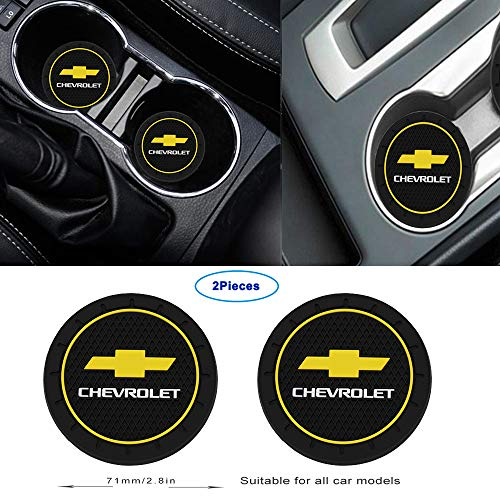 Luckily-2.8 Inch Diameter Oval Tough Car Logo Vehicle Travel Auto Cup Holder Insert Coaster Can 2 Pcs Pack for Chevrolet Accessories (for Chevrolet) from Luckily