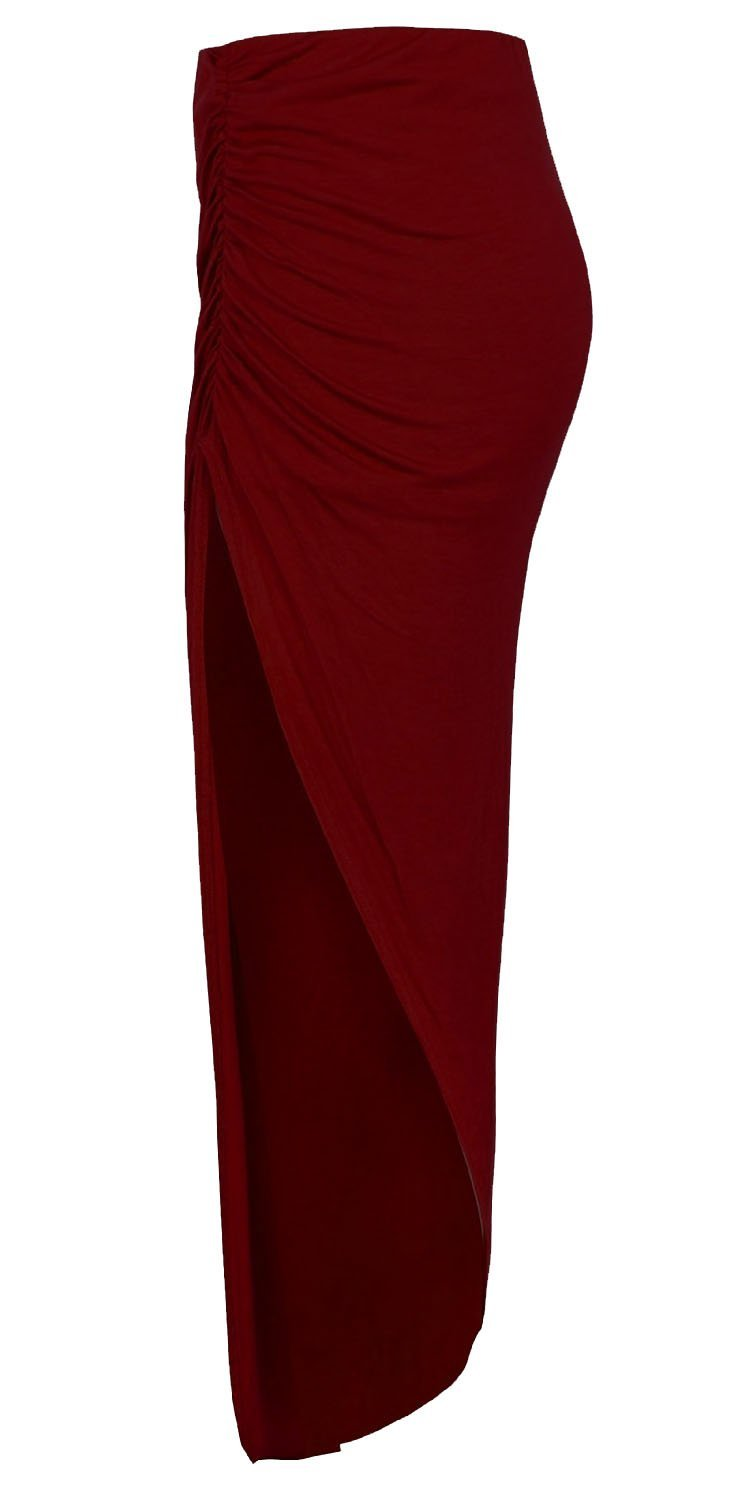 Forever Womens Plain Ruched Style Side Split Viscose Jersey Stretchy Maxi Skirt