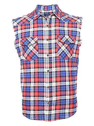 NUTEXROL Men's Casual Flannel Plaid Shirt Sleeveless Cotton Plus Size Vest Red and Blue XS