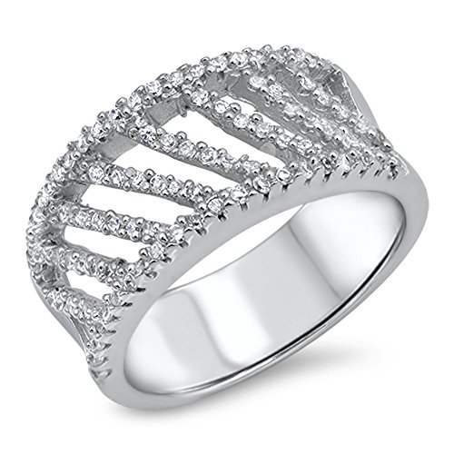 White CZ Micro Pave Criss Cross Filigree Ring Sterling Silver Band Size (Pave Filigree Ring)