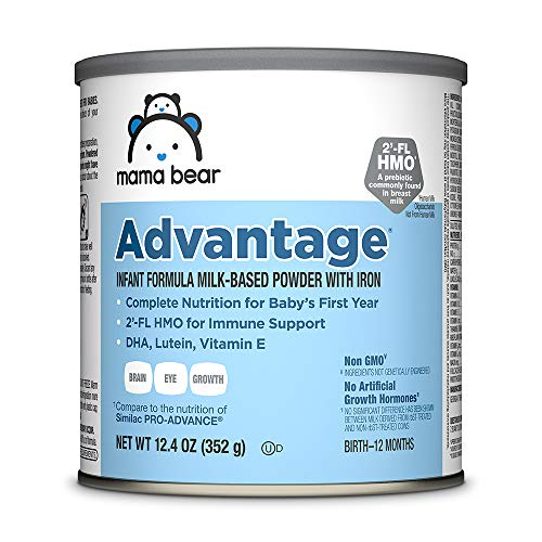 Amazon Brand – Mama Bear Advantage Infant Formula Milk-Based Powder with Iron, Non-GMO 12.4 oz
