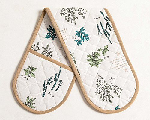 100% Cotton Double Oven Glove/Mitt, 7.5 - inch by 35 - inch Designed in France VERDURE Collection by Mayfair Linen