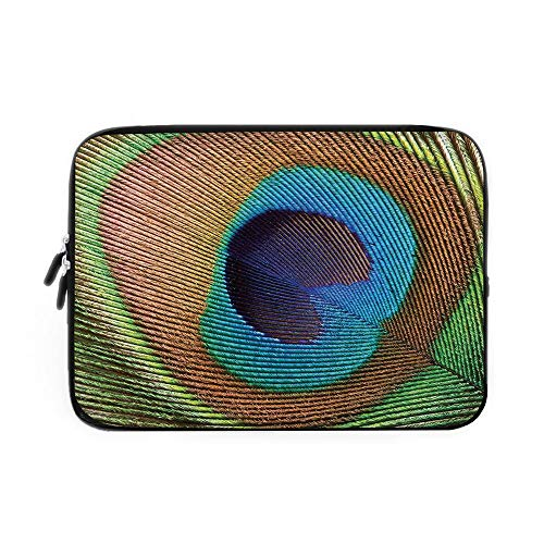 - Peacock Laptop Sleeve Bag,Neoprene Sleeve Case/Macro Size Peafowl Feather Plume Realistic Exotic Animal Themed Pattern/for Apple MacBook Air Samsung Google Acer HP DELL Lenovo AsusBlue Light