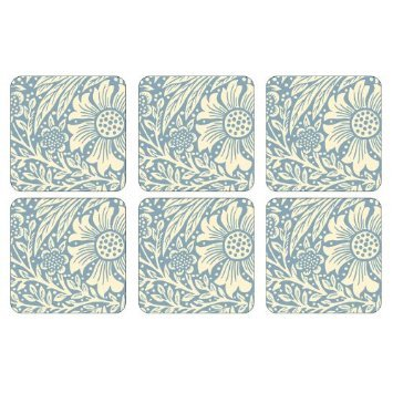 PIMPERNEL Marigold Blue Coasters square set of 6