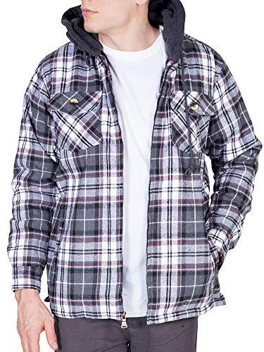 Walnut Creek Mens Fleece Lined Plaid Flannel Jacket (Large, Grey/White)