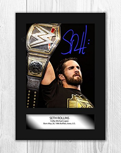 Engravia Digital Seth Rollins (2) WWE Wrestler Poster Signed Mounted Autograph Reproduction Photo A4 -