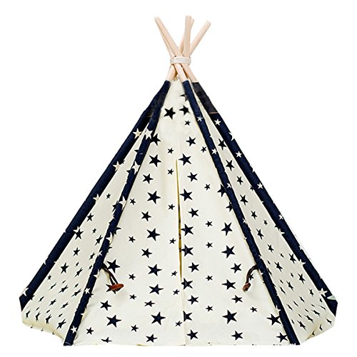 OSOPOLA Pet Tent Indian Teepee Canvas Tipi Without Mat and Pillow for Dogs Cats Puppy Kitty ()
