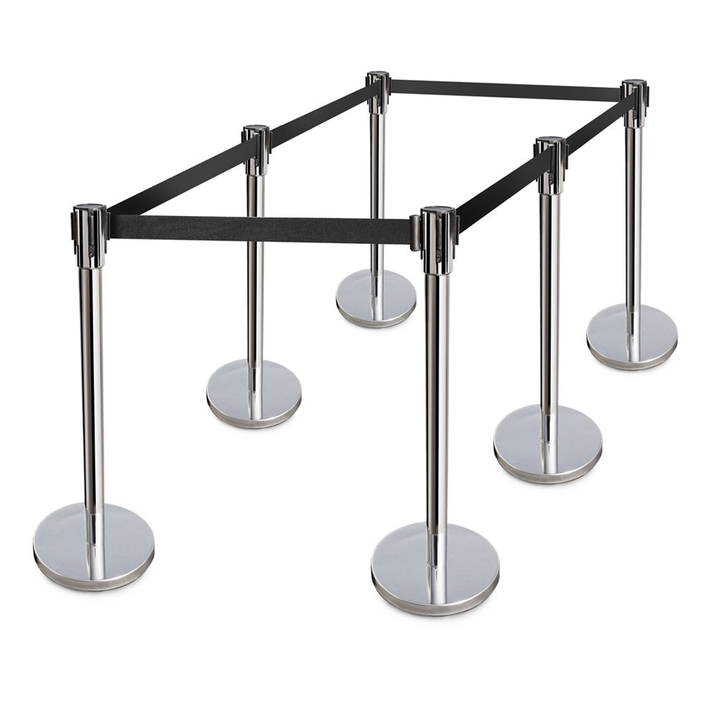 New Star Foodservice 54668 Stainless Steel Stanchions, 36'' Height, 6.5' Retractable Belt (Pack of 6)