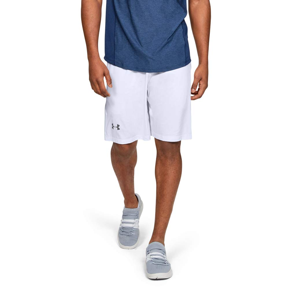 Under Armour Men's Raid 10-inch Workout Gym Shorts, White (100)/Graphite, Large by Under Armour