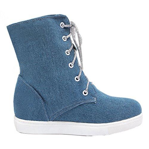 ENMAYER Frauen Denim Platform-Ankle-Boots mit reizendem Dekoration Blau