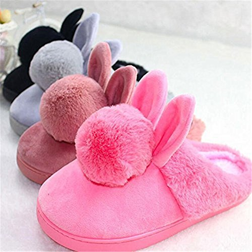 Rabbit Shape Flannelette Soft Slippers Sleep Cosanter for Indoor Shoes Pink Cute Cotton tOacq