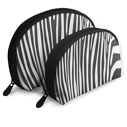 (Makeup Bag Stripes Zebra Print Portable Half Moon Toiletry Bags Case For Women )