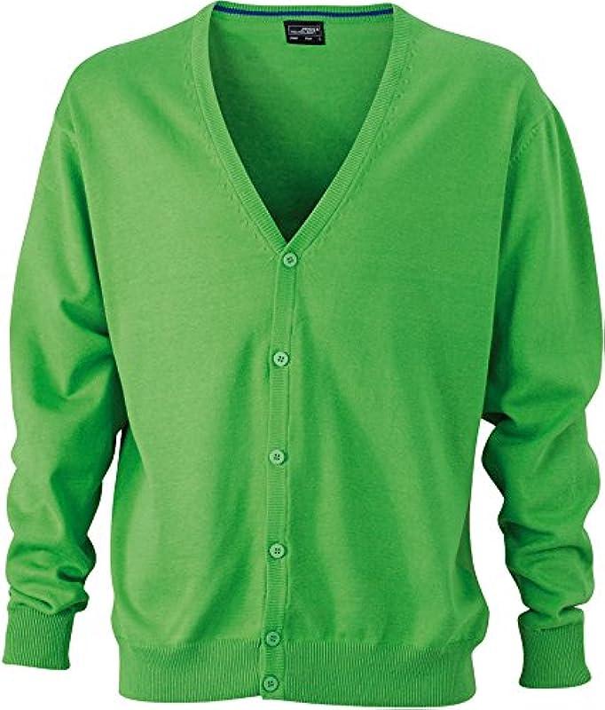 Męski kardigan z dekoltem w serek - kardigan dla mężczyzn z wycięciem w kształcie V rozm. 56, zielony: Odzież