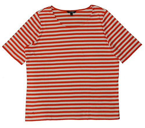 Lauren Ralph Lauren Plus Size Scoopneck Stretch Striped Tee Top (3X, Poppy White Striped)