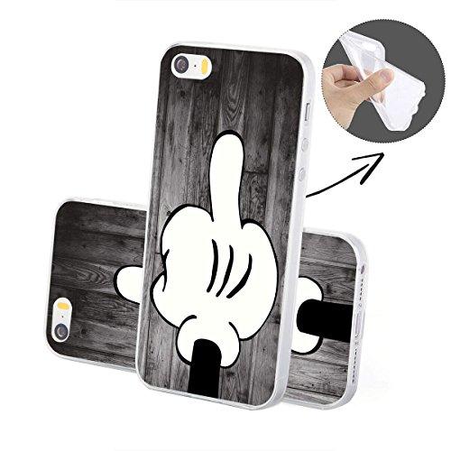 finoo | Iphone SE Weiche flexible Silikon-Handy-Hülle | Transparente TPU Cover Schale mit Motiv | Tasche Case Etui mit Ultra Slim Rundum-schutz | Mittelfinger