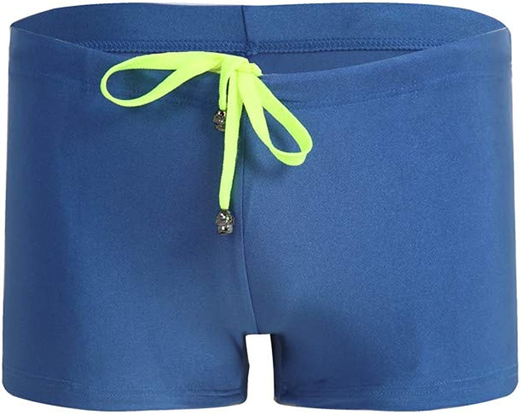 HTHJSCO Mens Boxer Swim Shorts Casual Quick-Drying Beach Shorts Solid Color Drawstring Breathable Swimwear