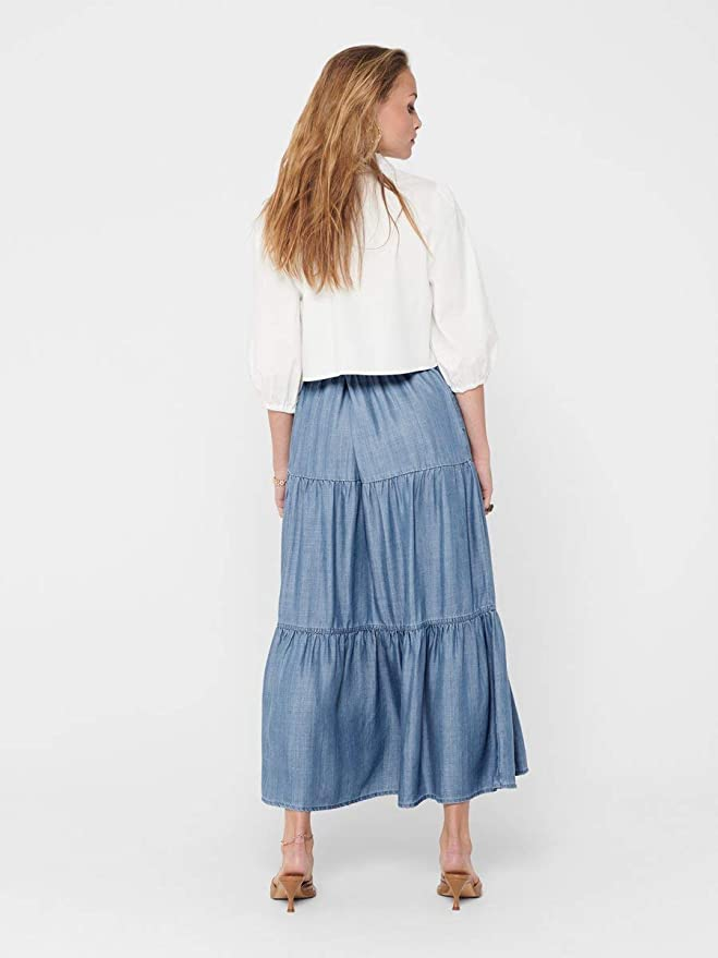 Only Onlmikka Life Reg Lyocel Dnm Skirt York Falda para Mujer