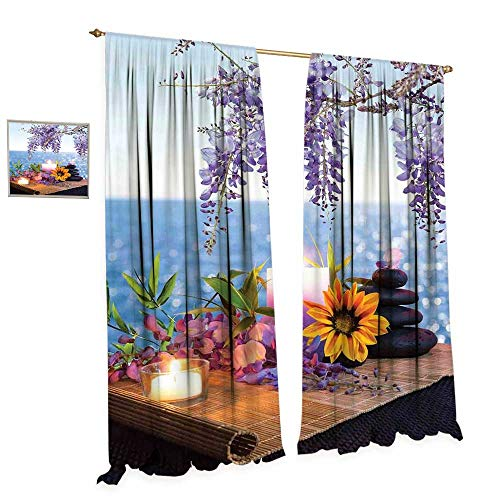 (cobeDecor Spa Decor Window Curtain Drape Massage Stones with Daisy and Wisteria with The Seabed Foliage Meditation Decorative Curtains for Living Room W84 x)