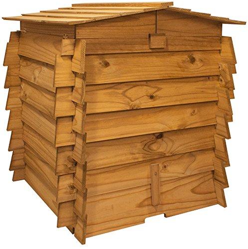 Doble de Madera con bisagras Compost Bin Residuos de Jard/ín Tacho Compostaje Cubos de madera