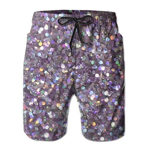 Doppyee Glitter Sparkles Shimmer Printing Men's Yoga Board Short, Soft Short Swimming Beach Pants,Surf Sweat Pants With Pockets