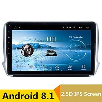 Reproductor Multimedia de 10 Pulgadas 2.5D IPS Android 8.1 para Coche DVD GPS para Peugeot 2008 208 2013 2014-2017 Audio Coche Radio estéreo navegación: ...