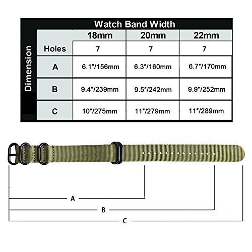 Ritche CHARLOTTE017  Nato Strap with Heavy Buckle Replacement Timex Weekender Watch Band, 20 mm, Army Green / Black Photo #4