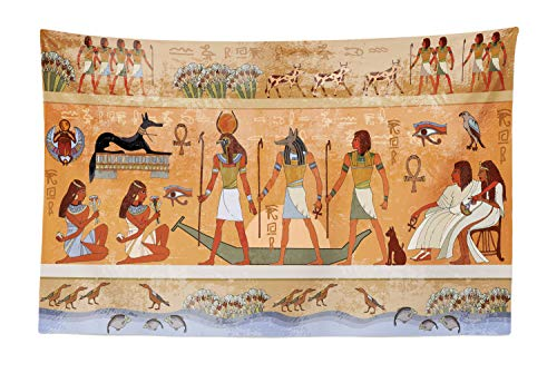 Lunarable Egyptian Tapestry, Ancient Scene Pharaoh Figure Hieroglyphic Building Nefertiti Civilization Theme, Fabric Wall Hanging Decor for Bedroom Living Room Dorm, 45 W X 30 L Inches, Multicolor ()