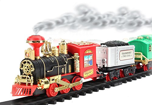 Remote Control Train Set Battery Operated Choo Choo Classical Rc Train W  Led Lights   Real Smoke  Sound Christmas Gift  Classical