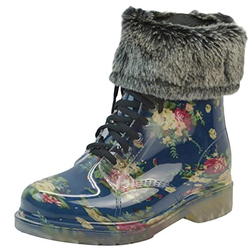 LvRao Women's Waterproof Lace-Up Shoes Short Snow Snow Rain Booties Casual Garden Boots Blue with Fur 0VDLL8