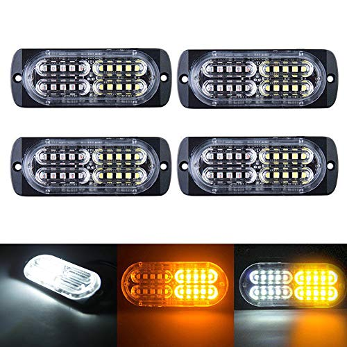 XTAUTO 12-24V 20-LED Super Bright Emergency Warning Caution Hazard Construction Waterproof Strobe Light Bar with 16 Different Flashing for Car Truck SUV Van Amber White 4-pack