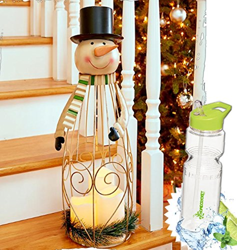 (Gift Included- Country Decor Snowman Triple LED Candle Christmas Holiday Season Lantern 2 Feet tall + FREE Bonus Water Bottle by Homecricket)