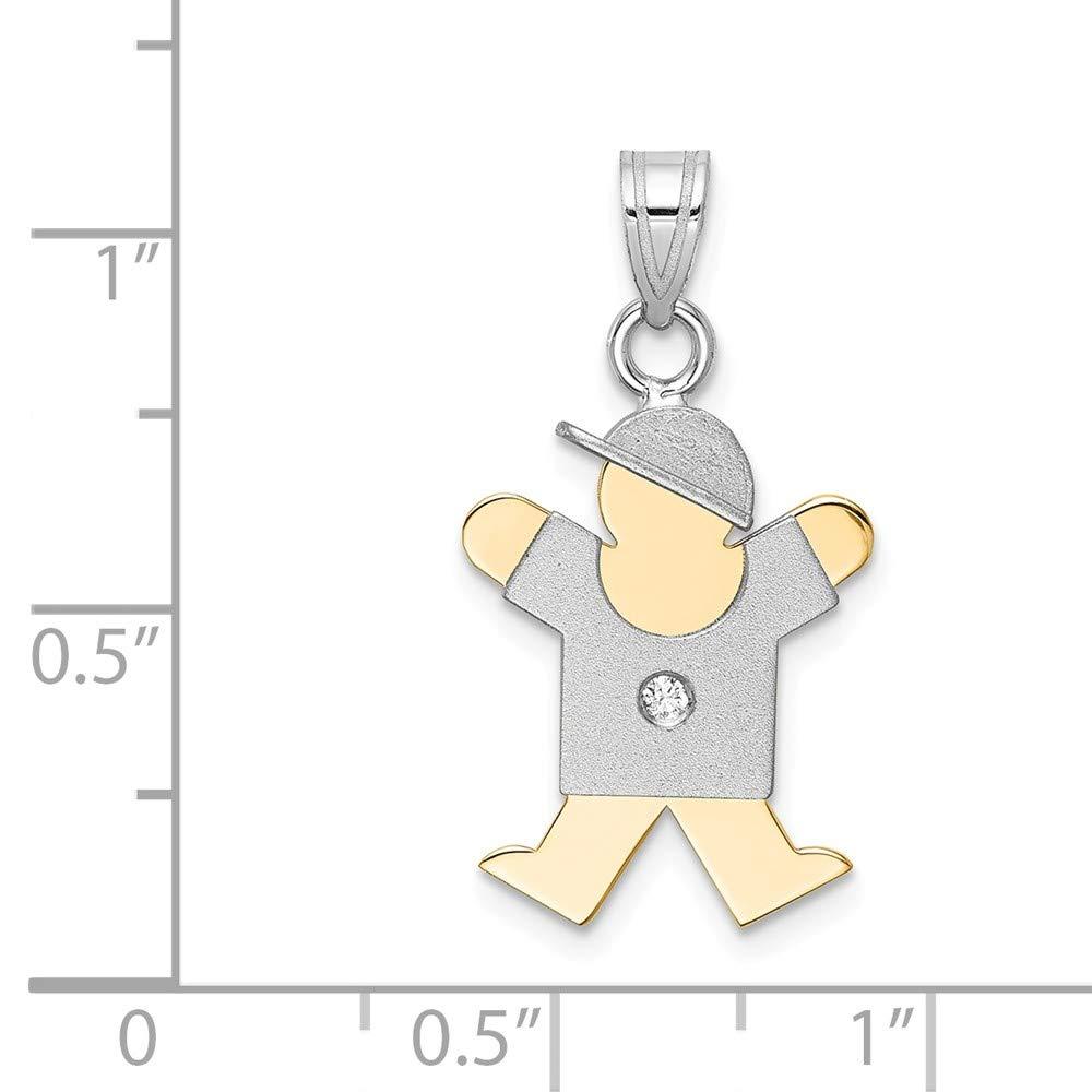Solid 14k Two Tone Diamond Children Boy Girl Baby Kids Body Pendant .02 cttw. 25mm x 15mm