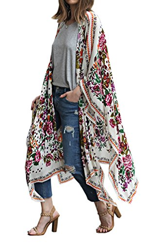 Hibluco Women's Sheer Chiffon Floral Kimono Cardigan Long Blouse Loose Tops Outwear (Medium, K -