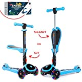 SKIDEE Scooter for Kids with Folding Seat – 2-in-1 Adjustable 3 Wheel Kick Scooter for Toddlers Girls & Boys – Fun Outdoor Toys for Kids Fitness, Outside Games, Kid Activities – Y200