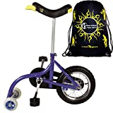 Qu-Ax Unicycles 12'' Kid's Balance Bike In Blue For Kids+ Flames N' Games Travel Bag!