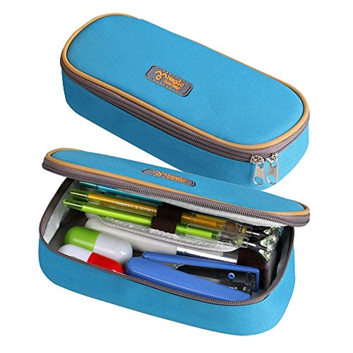 Pencil Case, LOYMR Student Pen Pencil Case Desktop Office Storage Organizer Pen Pencil Holder Organizer Basket Coin Purse Pouch Cosmetic Makeup Bag(Blue)