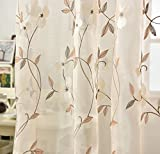Pureaqu Luxury Rustic Rod Pocket Process Floral Embroidery Sheer Curtains For Living Room Embroidered Leaves Voile / Tulle Drapery / Window Treatment 1 Panel W100xH84 Review