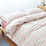 Checked Pattern Bedding Sets - MeMoreCool 100% Washed Cotton 5 Pieces Reactive Printing YKK Hidden Zipper Multiple Optional Queen