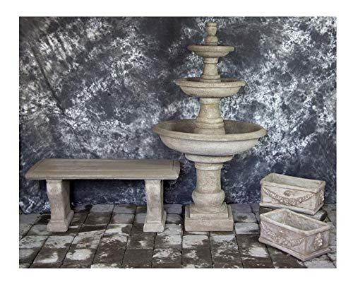 Fleur de Lis Garden Ornaments LLC Three Tier Renaissance Fountain with Italian Planters and Bench Package Number 1022