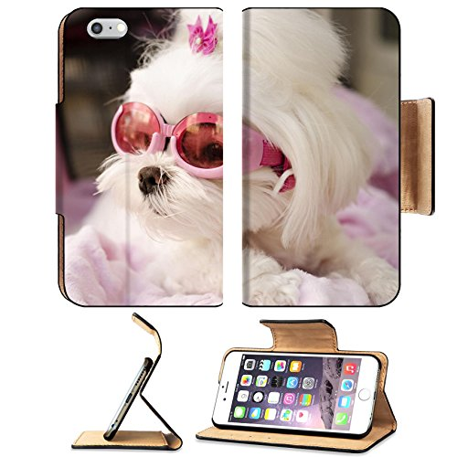 MSD Premium Apple iPhone 6 Plus iPhone 6S Plus Flip Pu Leather Wallet Case iPhone6 Plus Cute maltese dog wearing pink goggles - 90s Goggles