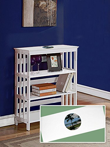 New White Finish Book Shelf Sofa Table featuring Hawaii Logo Theme by The Furniture Cove