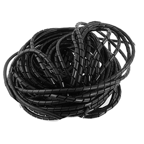 4' Spiral (Copapa 21M 68 Ft PE Black Polyethylene Spiral Wire Wrap Tube PC Manage Cable 6mm 1/ 4'' for Computer Cable, Car Cable (Dia 6MM-Length21M, Black))