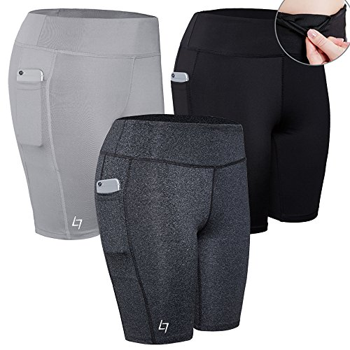 FITTIN Women's Active Fitness Pocket Sports Shorts - Yoga Running Activewear Workout Gym Running Leggings 3-Pack - Running Women's Shorts Best