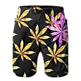Newest - Men's Travel Summer Quick Dry Board Shorts - Red Flame Leaf Weed